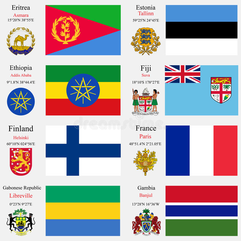 Världen sjunker och huvudstaduppsättning 8 royaltyfri illustrationer