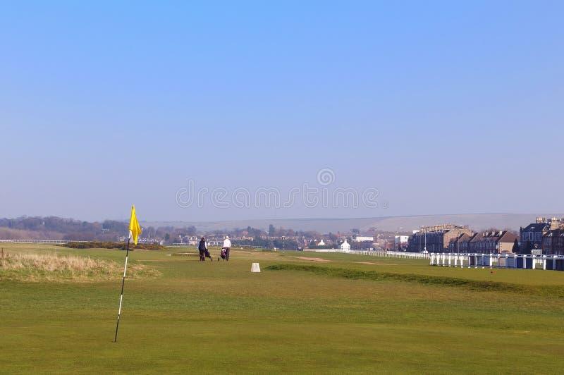 Världens äldsta golfbana på Musselburgh, Skottland från 156 royaltyfri foto