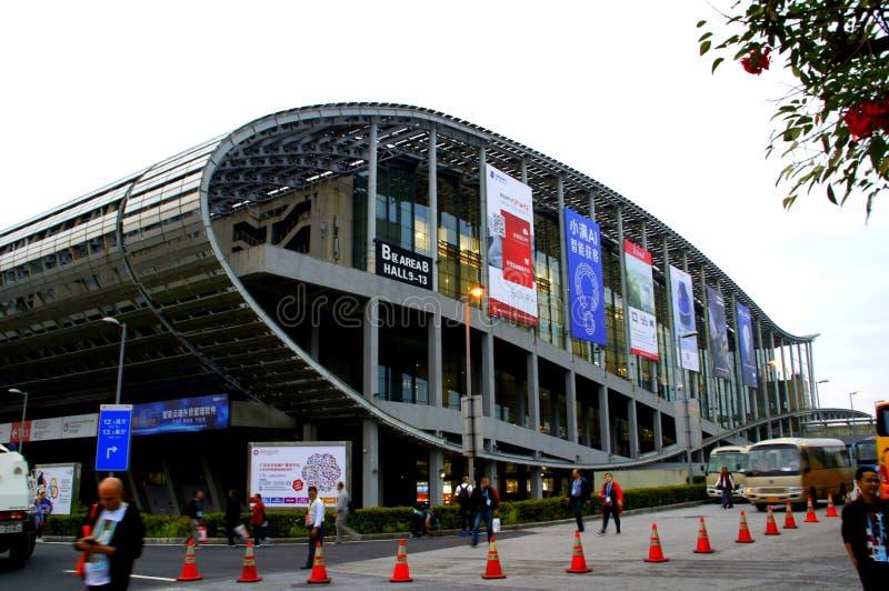 Världens största mässhall, byggnad, Guangzhou Pazhou internationell utställningmitt royaltyfri foto