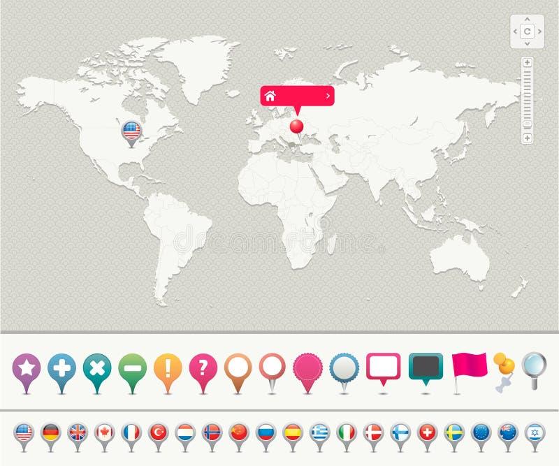 Världsöversikt med stift royaltyfri illustrationer