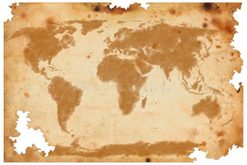 Världsöversikt på gammalt brunt papper royaltyfri foto