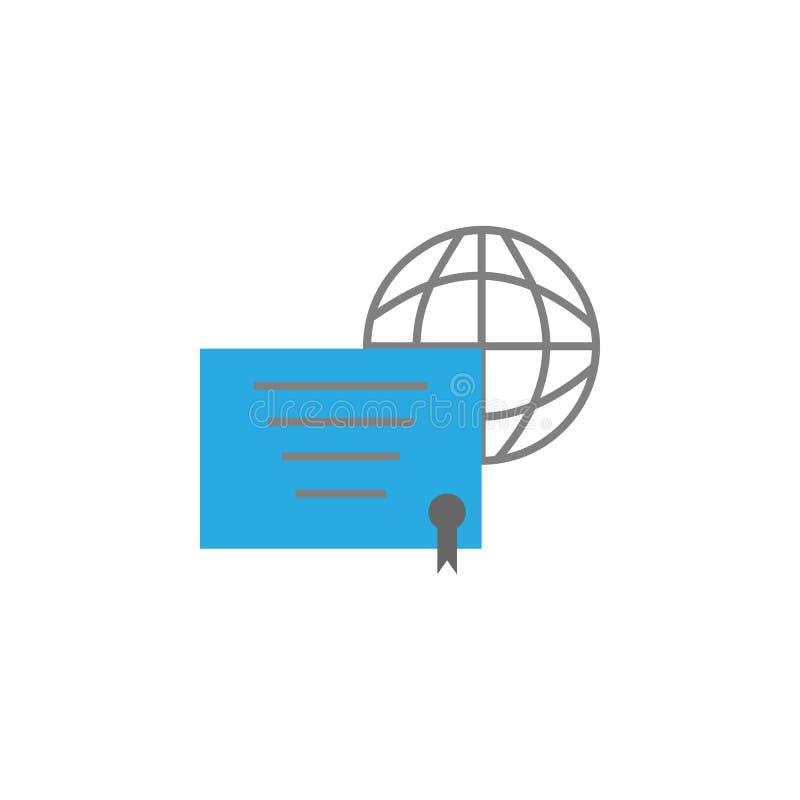Världs- och diplomsymbol Beståndsdel av utbildningssymbolen för mobila begrepps- och rengöringsdukapps Den specificerade världs-  royaltyfri illustrationer