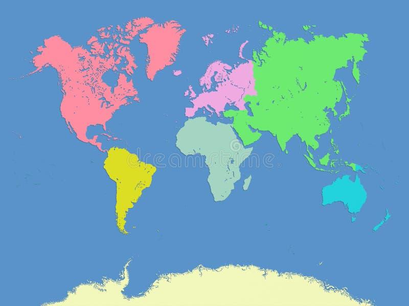 Världs- och kontinentöversikt stock illustrationer