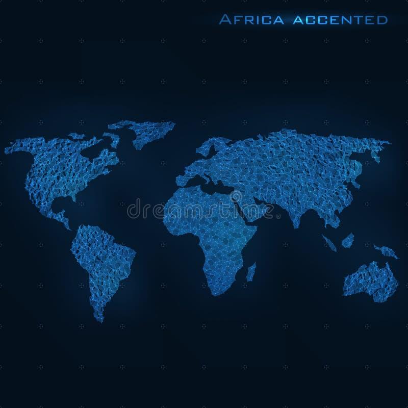 Världsabstrakt begreppöversikt Afrika betonade Det kan vara nödvändigt för kapacitet av designarbete Futuristiskt stilkort vektor illustrationer