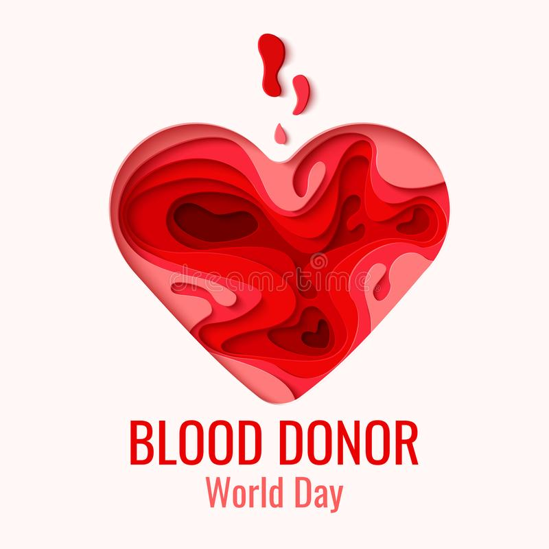 Världsblodgivaredag - rött papper klippte hjärta stock illustrationer
