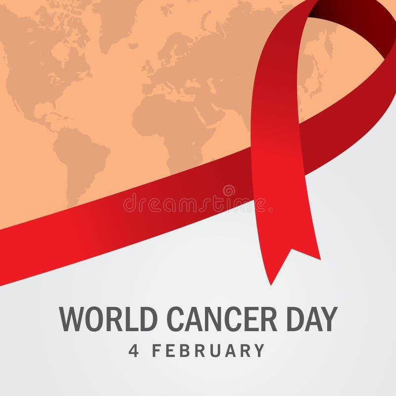 Världscancerdag dag för cancer för malldesignvärld med bandet vektor illustrationer
