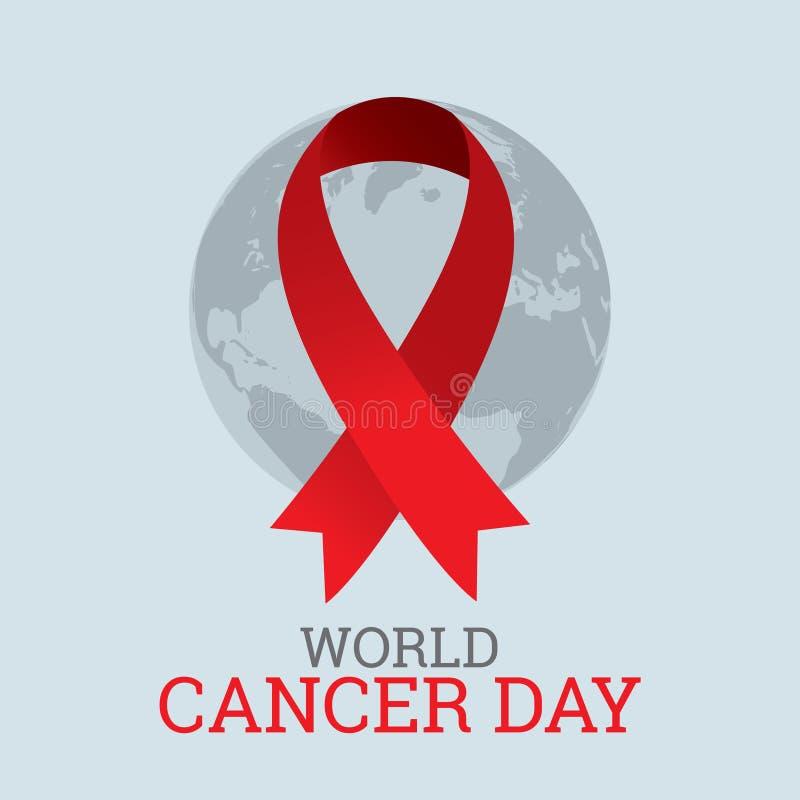 Världscancerdag dag för cancer för malldesignvärld med bandet och jord stock illustrationer