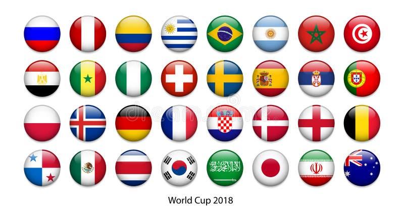 VÄRLDSCUP 2018 - flaggaknappar royaltyfri illustrationer