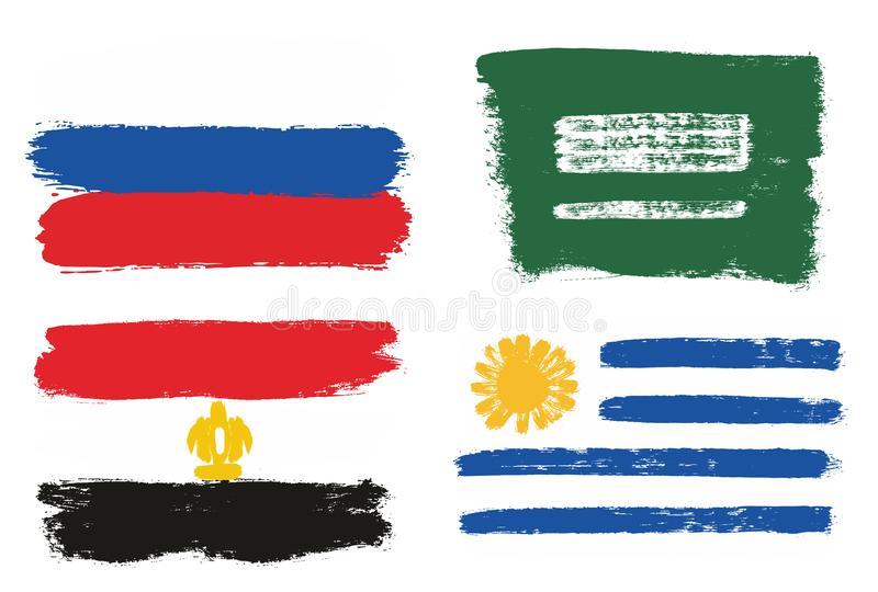 Världscup Ryssland 2018 Gruppera en flaggavektorhand som målas med den rundade borsten stock illustrationer