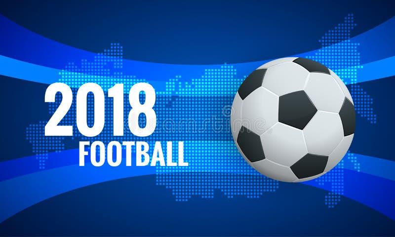 Världscupbakgrundsmall Fotboll 2018 för bakgrund för kopp för mästerskap för värld för fotboll för mall för reklambladdesignorien stock illustrationer