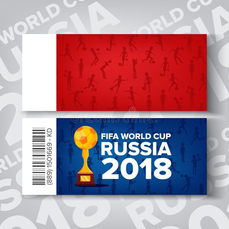 Världscupvektor för biljetter Fifa Ryssland konkurrens 2018 Röd blå bakgrund Biljettmall Fotbollboll, trofé stock illustrationer