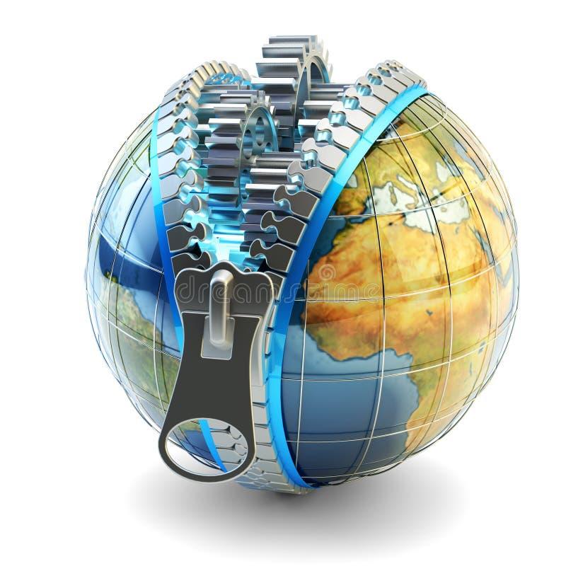Världsekonomi, global affär, internationell korporation och internetteknologibegrepp stock illustrationer