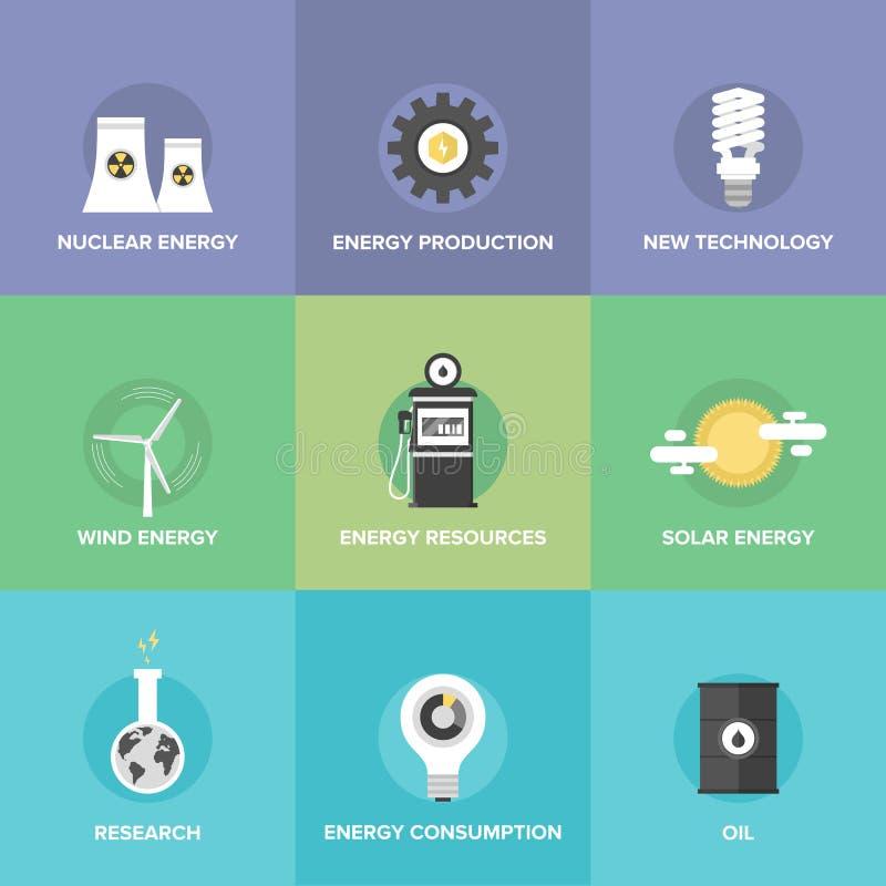 Världsenergiresurser sänker symbolsuppsättningen royaltyfri illustrationer