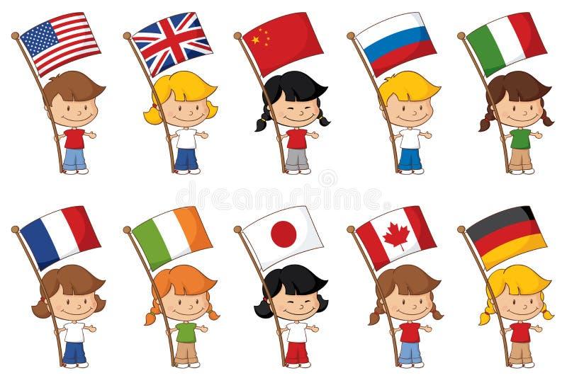 Världsflaggor vektor illustrationer