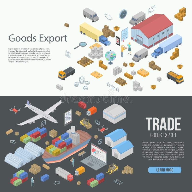 Världsgodset exporterar baneruppsättningen, isometrisk stil royaltyfri illustrationer