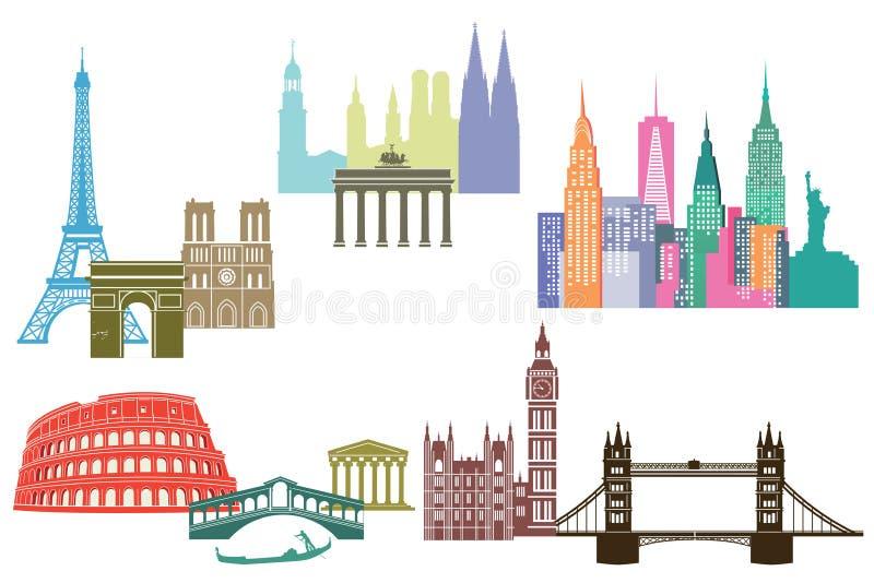 Världsgränsmärken royaltyfri illustrationer