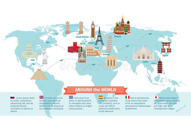 Världsgränsmärken på översikt stock illustrationer