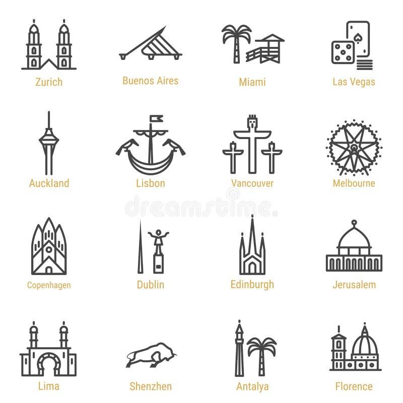 Världsgränsmärken - vektorlinjen symbolsuppsättning - deldropp stock illustrationer