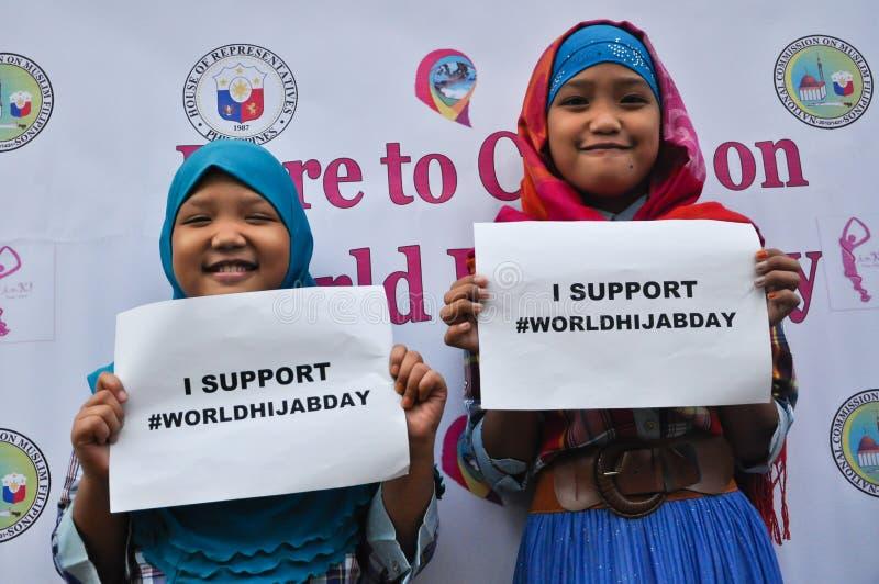 VärldsHijab dag i Manila royaltyfria bilder
