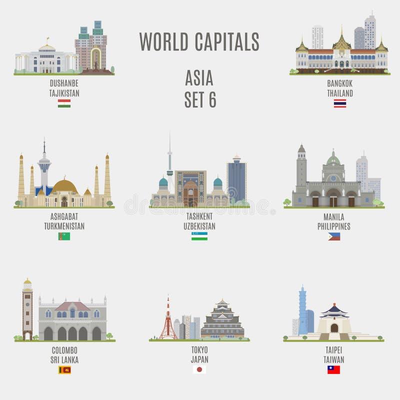 Världshuvudstäder royaltyfri illustrationer