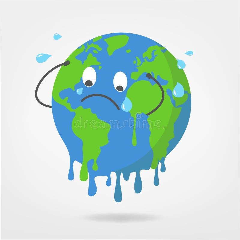 Världsillustration - global uppvärmning-/klimatförändringvektor gr stock illustrationer