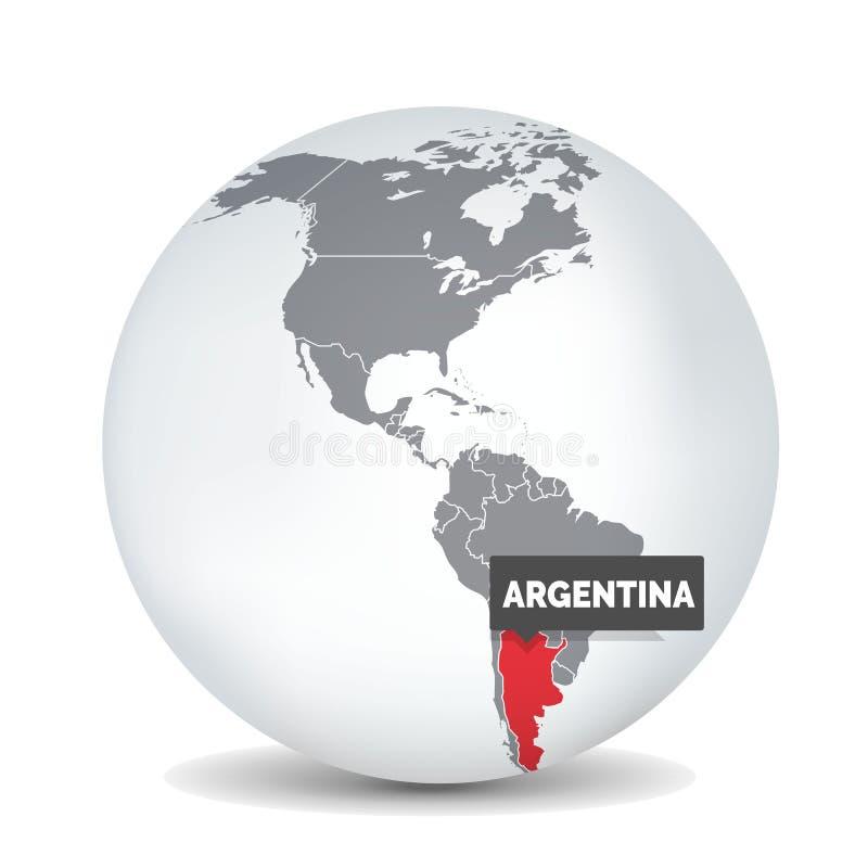 Världsjordklotöversikt med identicationen av Argentina argentina ?versikt vektor illustrationer
