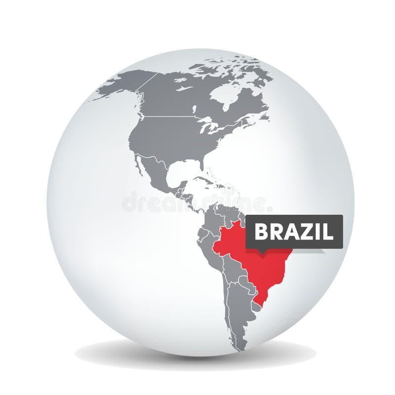 Världsjordklotöversikt med identicationen av Brasilien brazil ?versikt royaltyfri illustrationer