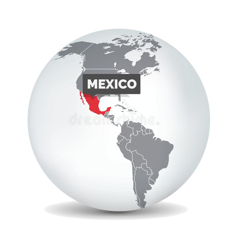 Världsjordklotöversikt med identicationen av Mexico ?versikt mexico stock illustrationer