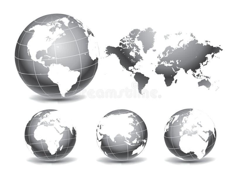 Världsjordklotöversikter vektor illustrationer