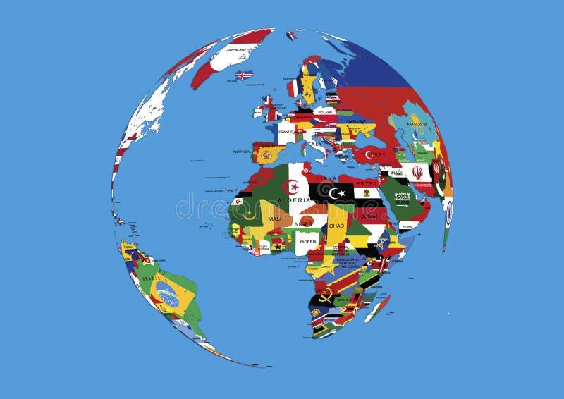 Världsjordklot Europa, Afrika och Asien flaggaöversikt royaltyfri illustrationer