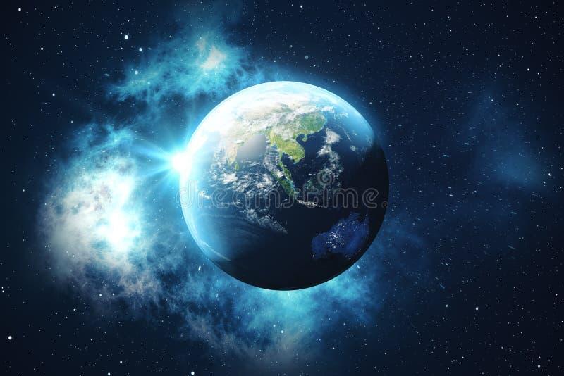 världsjordklot för tolkning 3D från utrymme i en himmel för natt för visning för stjärnafält med stjärnor och nebulosan sikt för  royaltyfri illustrationer