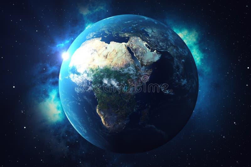 världsjordklot för tolkning 3D Jordjordklot med den bakgrundstjärnor och nebulosan Jord, galax och sol från utrymme blå soluppgån royaltyfri illustrationer