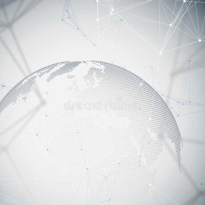 Världsjordklot med skugga på grå färger Abstrakta anslutningar för globalt nätverk, bakgrund för begrepp för teknologi för geomet vektor illustrationer