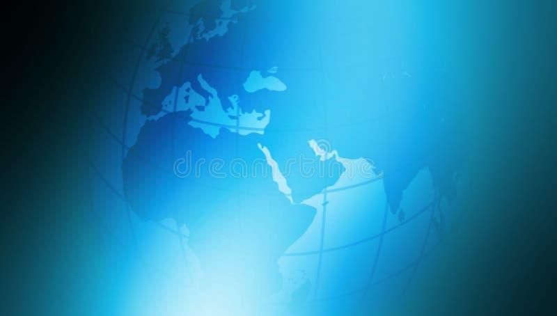 Världsjordklot på blått skuggad tråkig bakgrund stock illustrationer