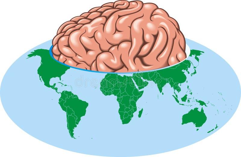 Världsjordklot som stor hjärna stock illustrationer