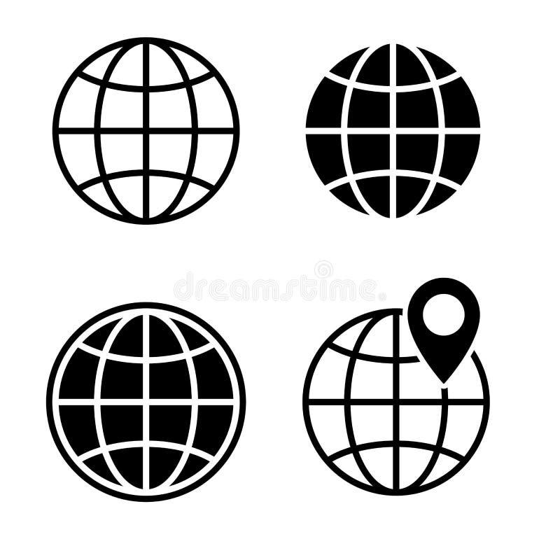 Världsjordklotsymbol Jordklot - uppsättning för vektorsvartsymboler också vektor för coreldrawillustration stock illustrationer