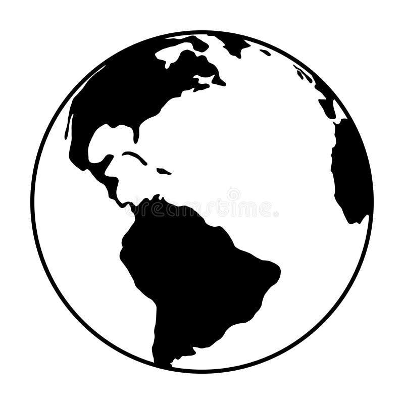 Världsjordklotsymbol vektorjordlogo global simbolillustration för rengöringsduk royaltyfri illustrationer