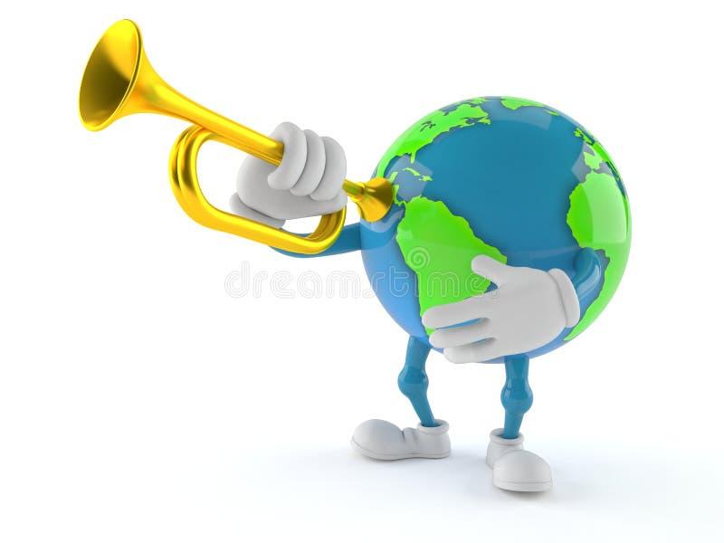 Världsjordklottecken som spelar trumpeten stock illustrationer