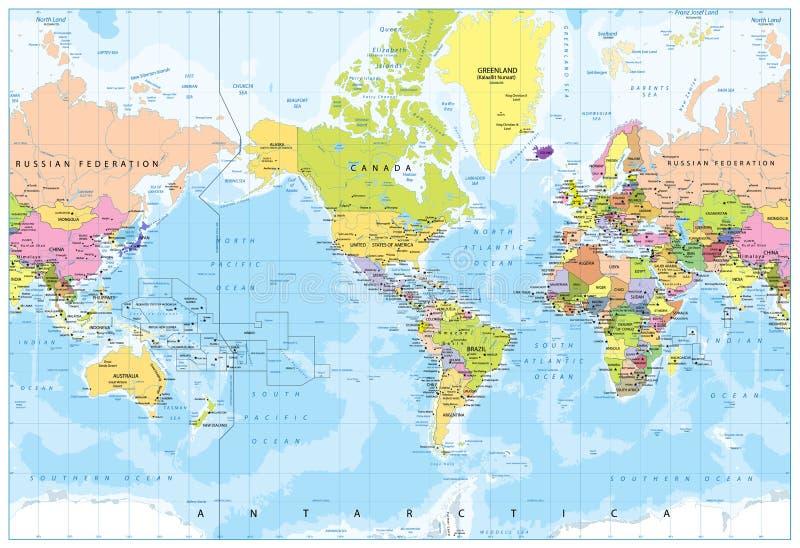 Världskarta - Amerika i mitt - Bathymetry royaltyfri illustrationer