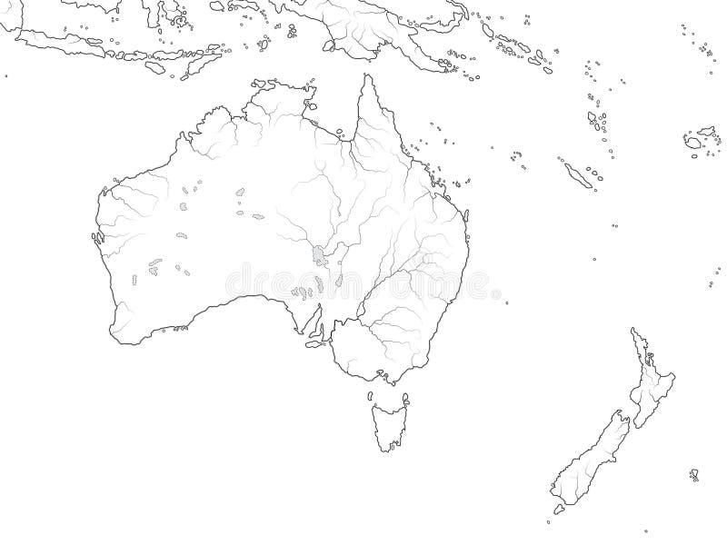 Världskarta av den AUSTRALIEN KONTINENTEN: Australien Nya Zeeland, Oceanien, Stilla havet Geografiskt diagram vektor illustrationer