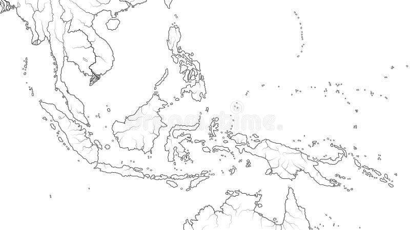 Världskarta av den SOUTH EAST ASIA REGIONEN: Indokina Thailand, Malaysia, Indonesien, Filippinerna Geografiskt diagram royaltyfri illustrationer