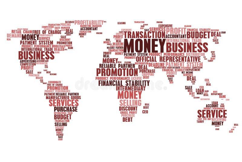 Världskarta av etiketter för affärsordmoln stock illustrationer
