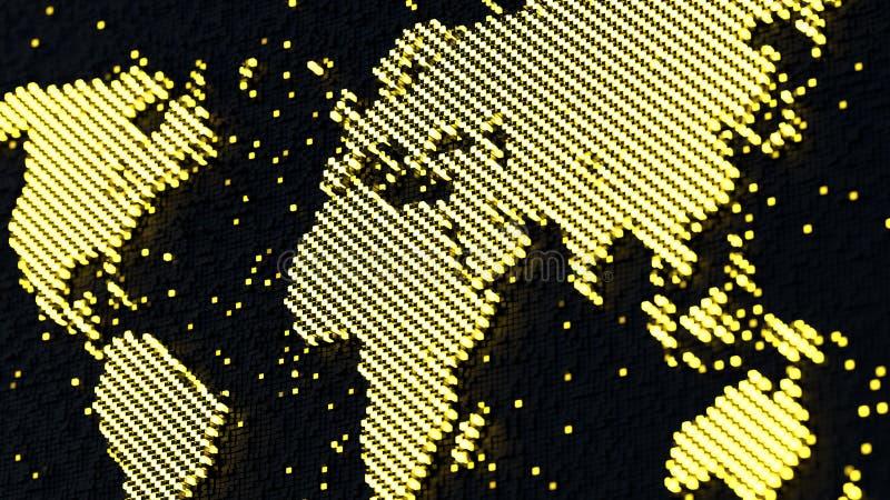 Världskarta av glödande PIXEL 3D att framföra stock illustrationer