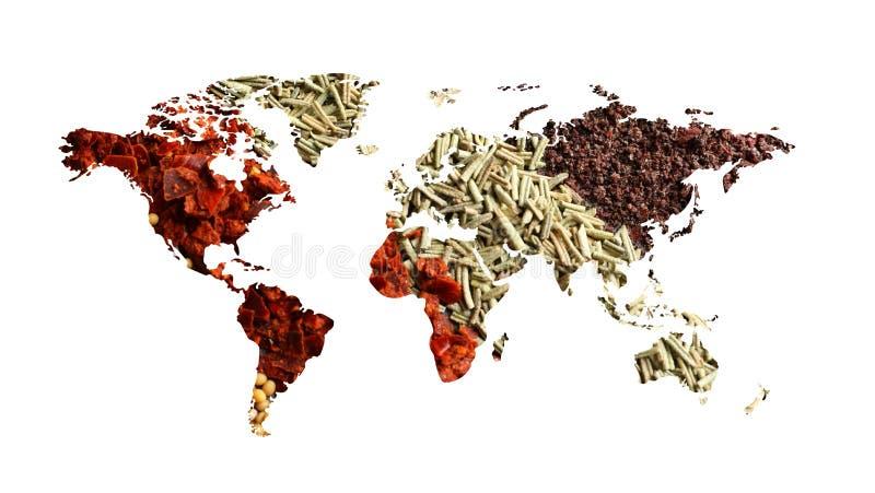 Världskarta av olika aromatiska kryddor på vit bakgrund royaltyfri illustrationer