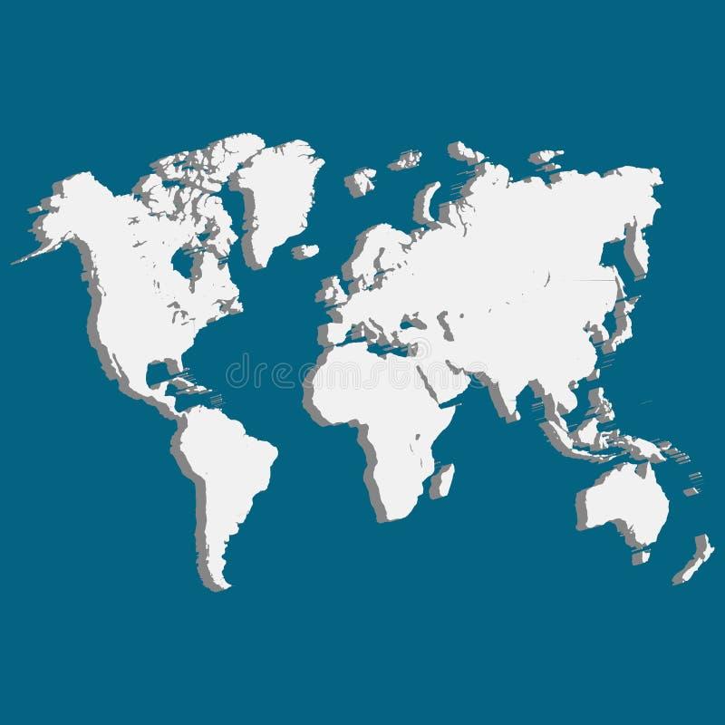 Världskarta av planetjord 3D stock illustrationer