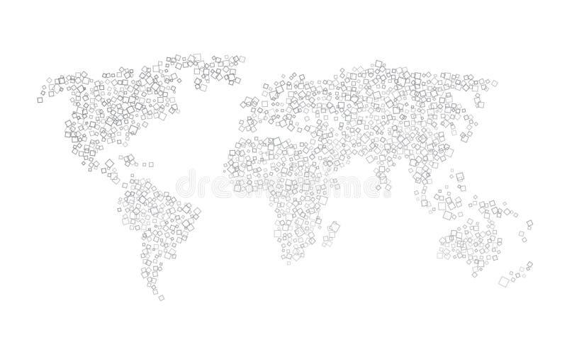 Världskarta av svarta fyrkanter vektor illustrationer