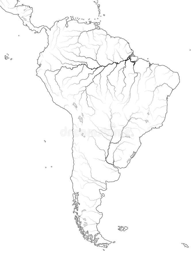Världskarta av SYDAMERIKA: Latinamerika Argentina, Brasilien, Peru, Patagonia, Amazon River Geografiskt diagram royaltyfri illustrationer
