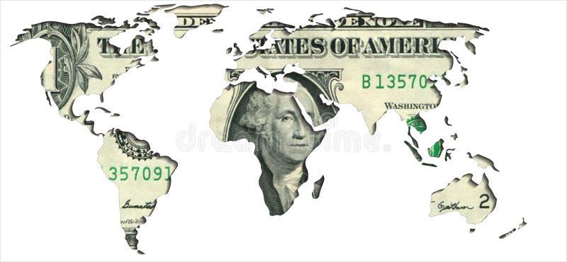 Världskarta en dollar royaltyfri illustrationer