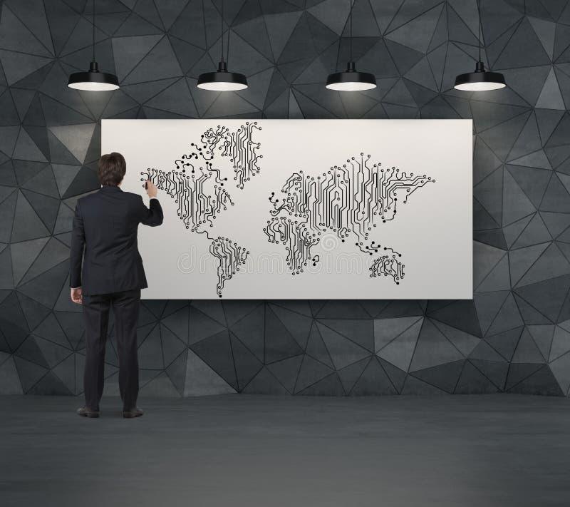 Världskarta för affärsmanteckningsrengöringsduk royaltyfri foto