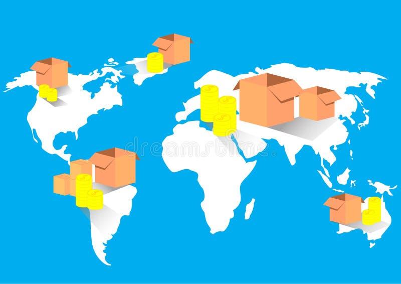 Världskarta för handel för affärsexportimport global vektor illustrationer